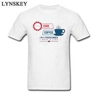 Код и Кофе программист топ футболки Для мужчин круглый воротник хлопок футболка с короткими руками больше Размеры XXL