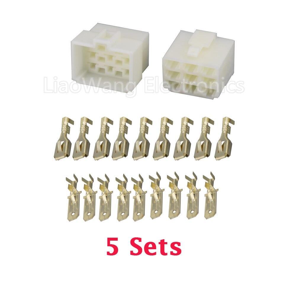 5 Sets/kits Todos Os Novos 9 Pin/forma DJ7091-6.3 ABS Plástico Conectores de Fio Elétrico Plugue Macho e fêmea conector automóvel
