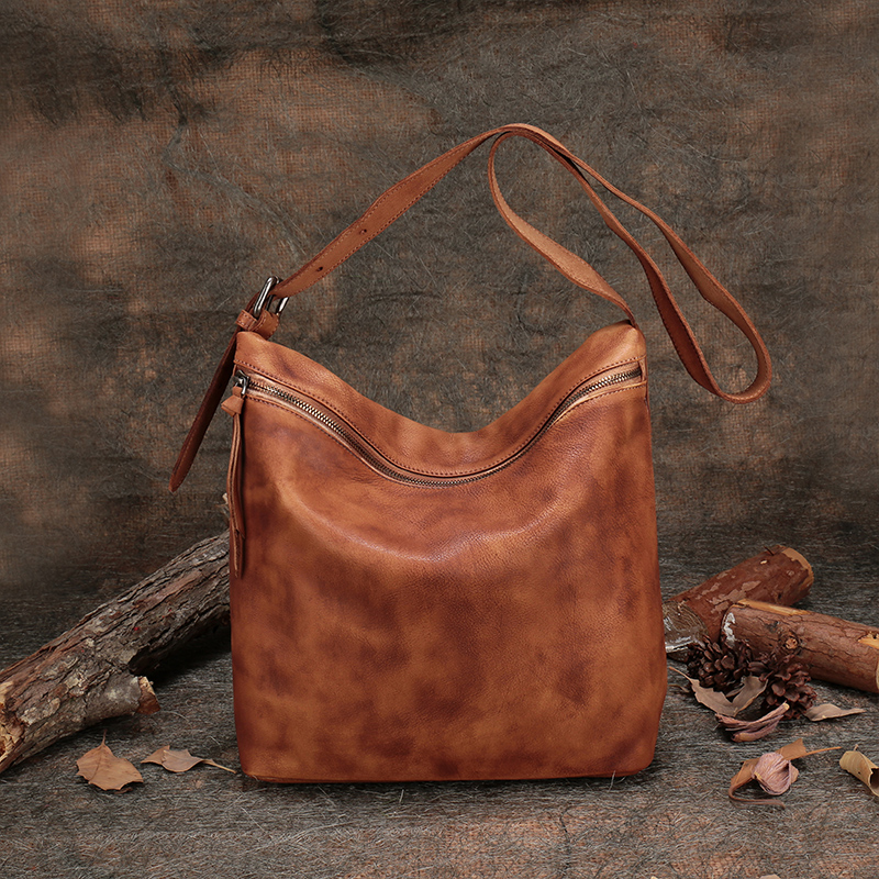 High Capacity Tote Women's Handbags Handmade Leather Shoulder Sling Bags 2019 Vintage Genuine Leather Lady Messenger Crossbody