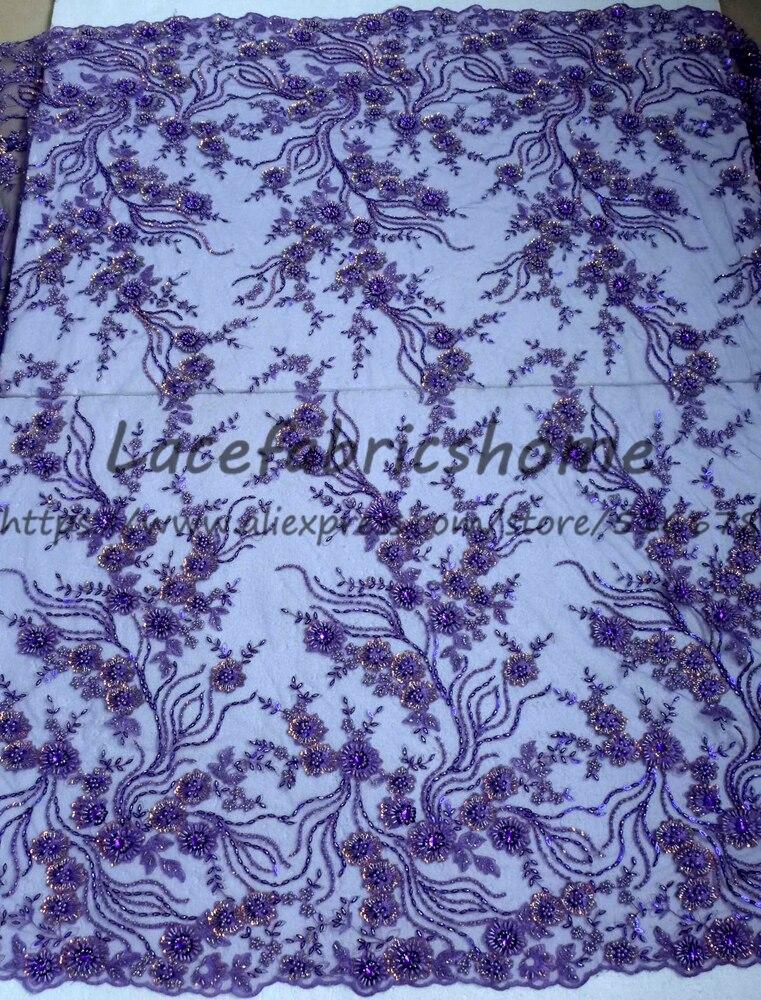Una yarda de 130 cm púrpura/rojo con cuentas pesadas en tela de encaje de boda bordado de red tejido de estilo de boda-in encaje from Hogar y Mascotas    3