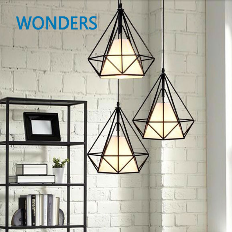 Restoring Ancient New arrival Diamond Wrought Iron Cage Pendant Lamp Nordic Single head Restaurant Industry Pendant Lights new arrival iron