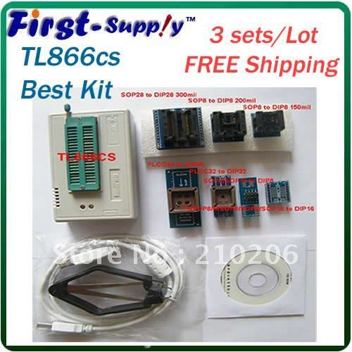 3 sets/ lot 2013 new march updated 5.91 software TL866cs / TL866 Programmer + 7pcs adapters + IC picker, support 13143+ chips