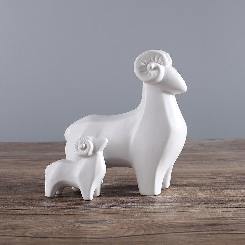 Us 64 52 White Black Ceramic Sheep Home Decor Crafts Room Decoration Goat Handicraft Porcelain Animal Figurines Wedding Decorations In