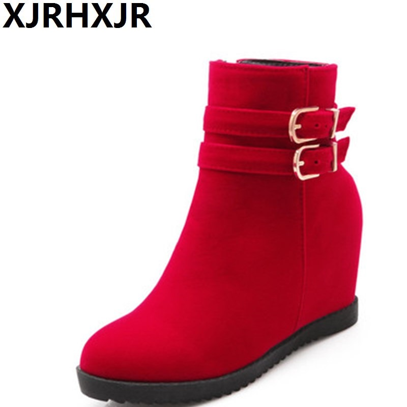 XJRHXJR Wedges Hidden Heels Ankle Boots Women Fashion Buckle Side Zipper Shoes Ladies Martin Boots Comfort Winter Shoes Boots