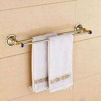 Newly Golden Polished Double Towel Bar Holder Blue Crystal Bath Towel Rail Washcloth Rack Shelf Wall