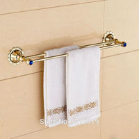 Newly Golden Polished Double Towel Bar Holder Blue Crystal Bath Towel Rail Washcloth Rack Shelf Wall