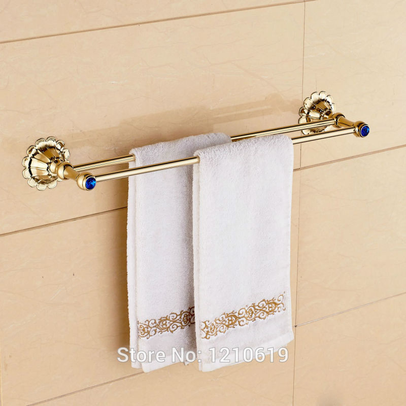 Newly Golden Polished Double Towel Bar Holder Blue Crystal Bath ...