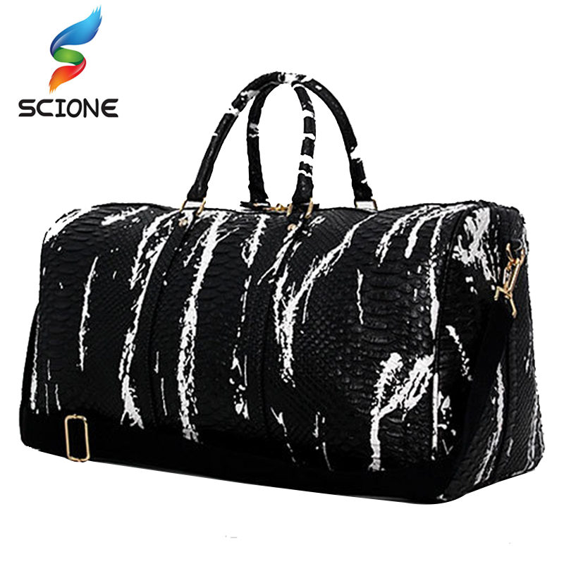Hot Large Travel Yoga Handbag Snake Pattern PU Leather Sports Mens Gym Bag PU Tote For W ...