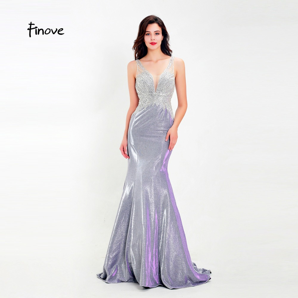 Finove New Prom Dress Long 2019 Reflective Dress Chic Beading Sexy Backless Mermaid Style Party Dress