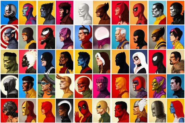 Marvel Characters Canvas fabric poster print (frame available) Marvel Comics