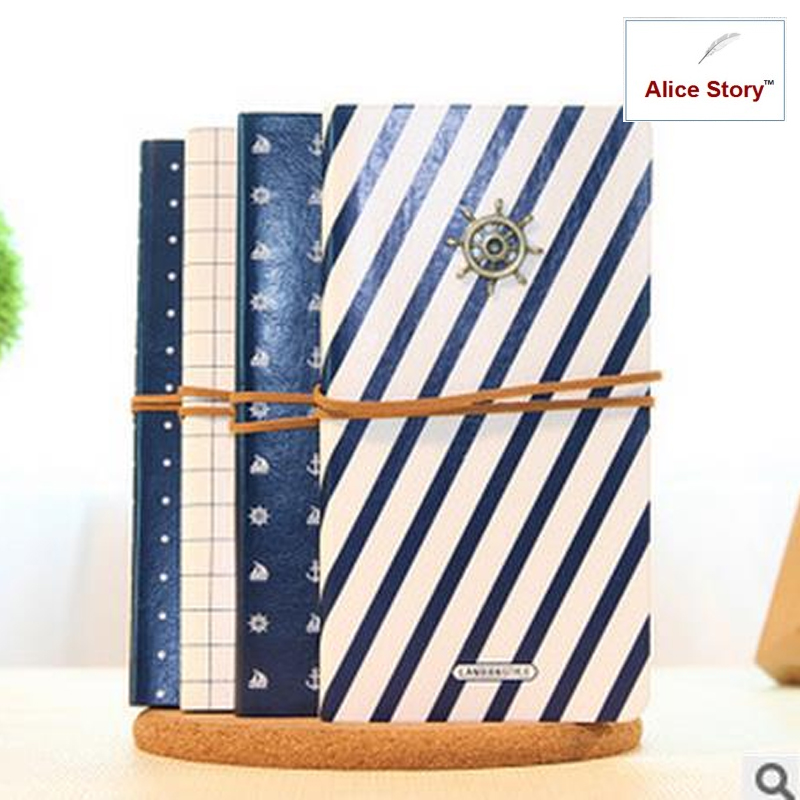 Sailing diary Vintage PU cover notepad diary notebook Cute journal gift blue white with pendant and rope Diary Planner Notebook xuanxuan diary white xs