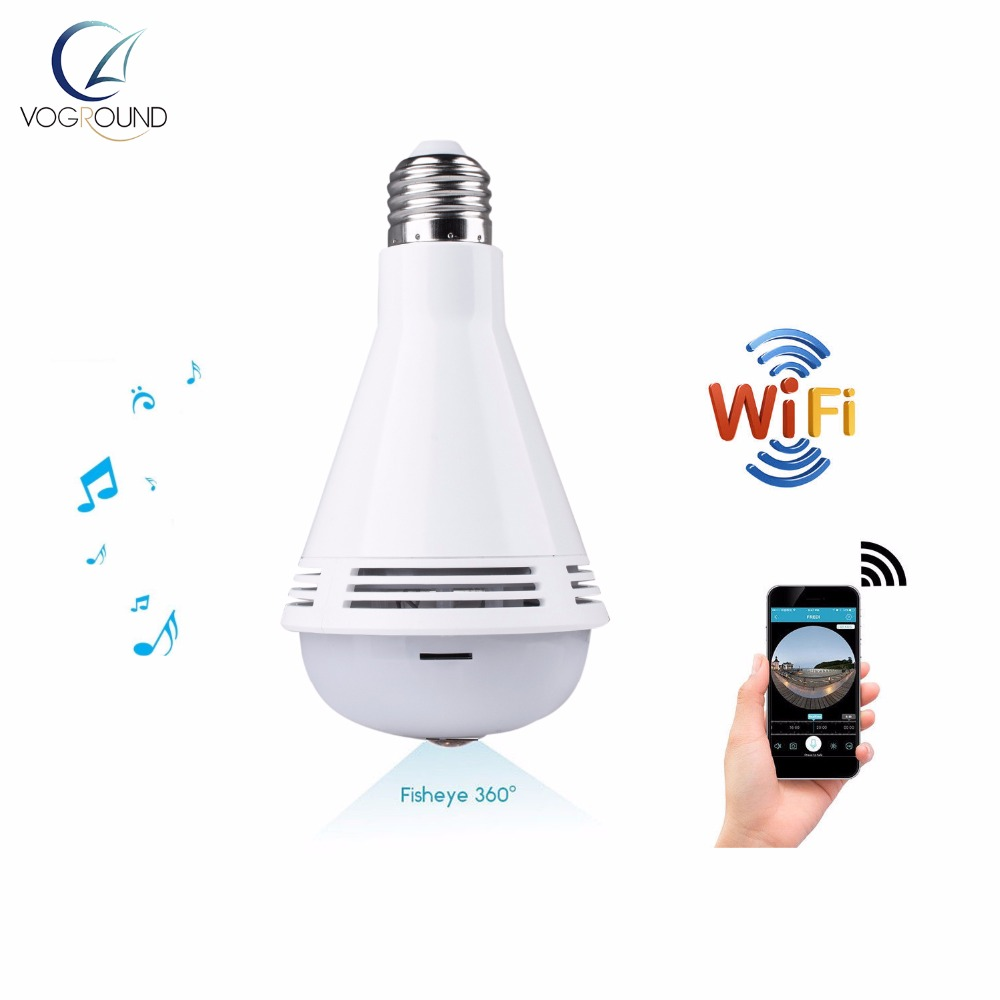 2018 Wireless Bulb Panoramic Camera 360 Degree Bluetooth Home Security VR Camera 960P Bu ...