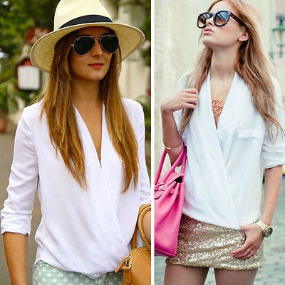 2016 New Fashion Women Summer Chiffon Shirt Sexy V Neck Casual  Tops Blouse Elegant White
