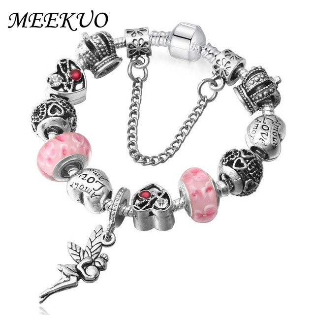 MEEKUO Antique Silver Color angel Pendants Bracelet Valentine\'s Day ...