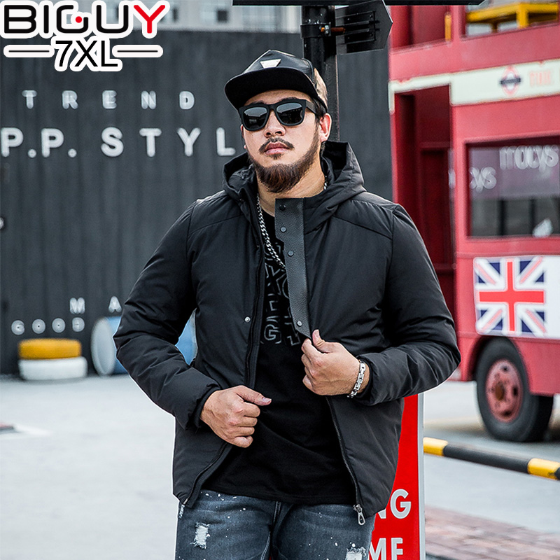 ФОТО BIG GUY Oversized Black Mens Winter Parka With Hood 2016 Fashion Warm Men's Winter Jackets and Coats Winter Coat Male 1553
