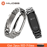 Mijobs Metal Strap Smart Wristband Mi2 Stainless Steel Bracelet Wrist Watch Band Smart Accessories Replace For