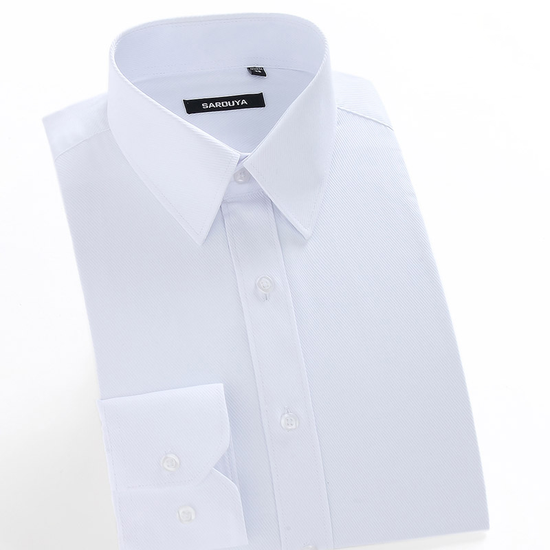 Men's Regular-fit Coarse-twill Solid Basic Dress Shirt Formal Business Long Sleeve White Tops Shirts For Social Work Office Wear