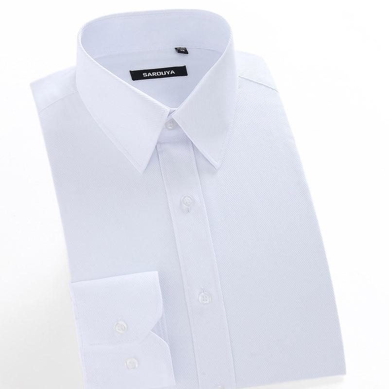 Мужская regular-Fit с длинным рукавом белый основные рубашка плюс размер 5XL деловые Solid twill футболки для работы офиса одежда