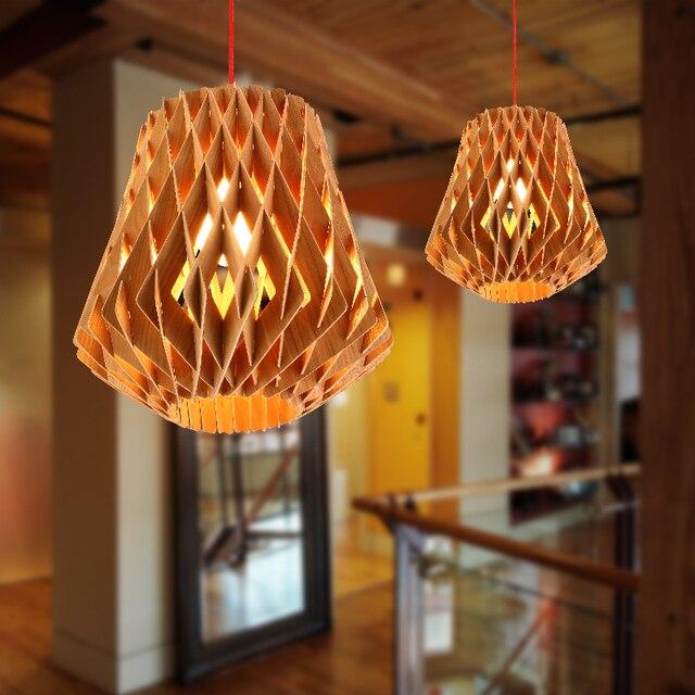 Main fait pendentif lumière creative nid dabeille forme conception pendentif en bois clair