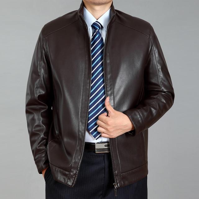 Factory Men's  Leather Jacket Sheepskin Fashion Brand Black Coffee Motorcycle Biker Male Coat  Fashion style
