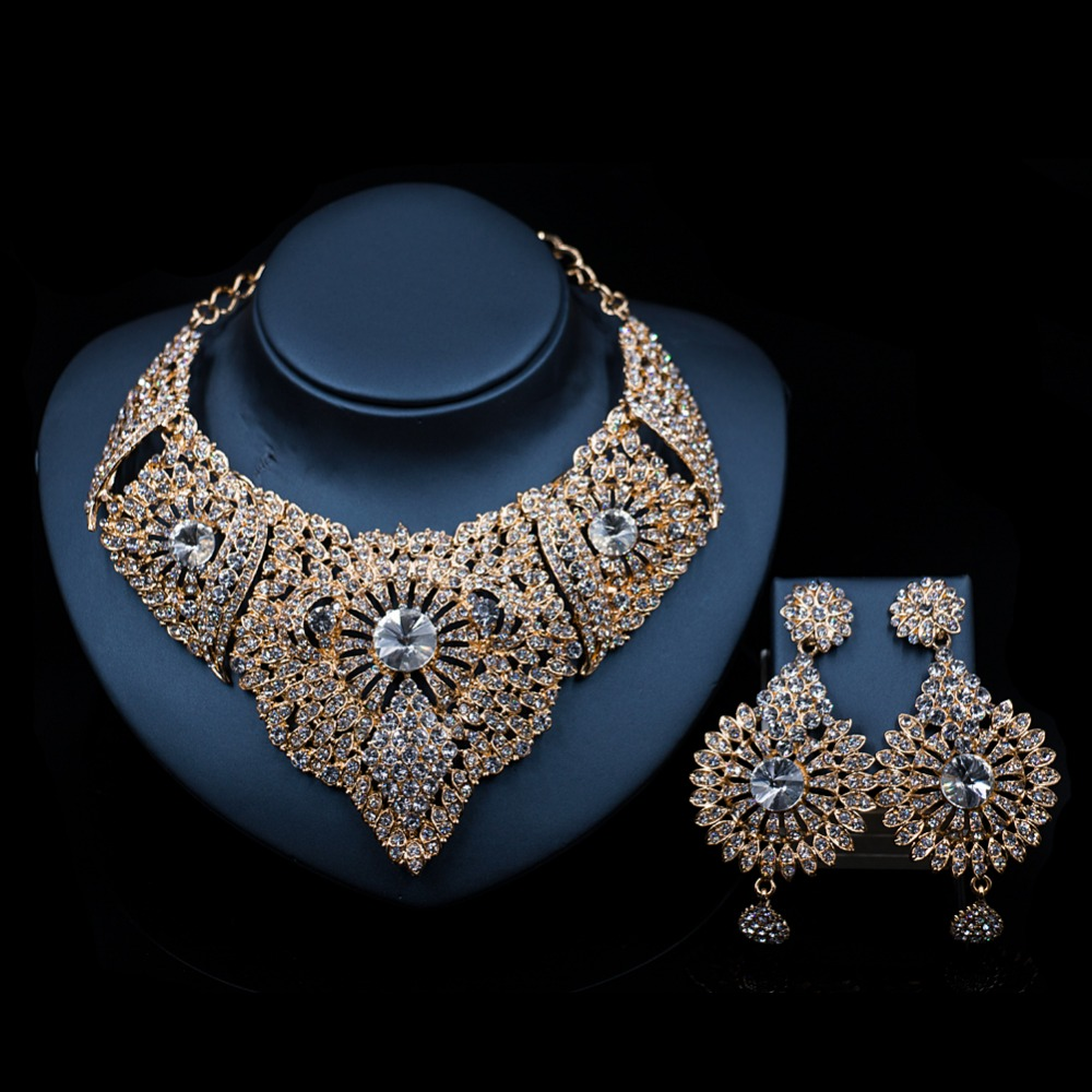 LAN PALACE wedding necklace for women jewelry bridal necklace and earrings austrian necklace african jewelry set free shipping chic rhinestone african plate shape pendant necklace and earrings for women