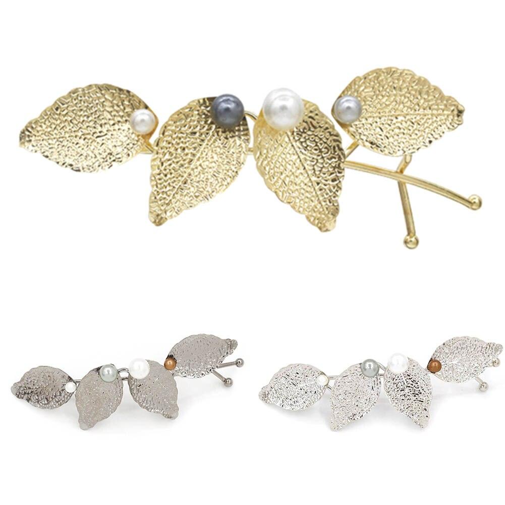 Women Girl's 2017 Fashion Hair Accessories Simulated Pearl Leaf Hair Clips Wedding Tiara Hairpins Hair Stick Leaves Barrettes