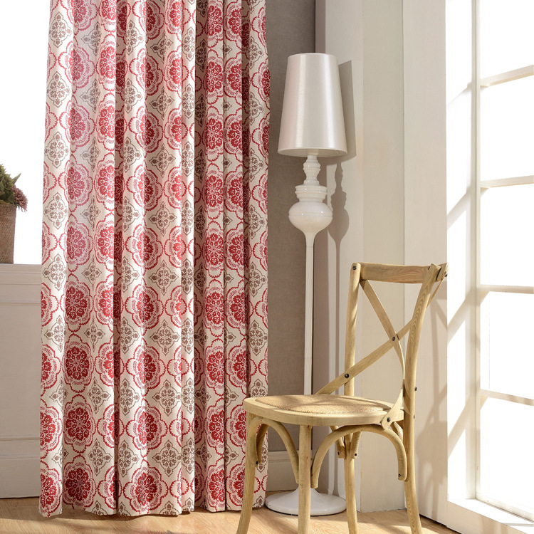 Red Window Curtain Panels Sale: Hot Sale Luxury Customized Polyester Linen Cotton Red Grey
