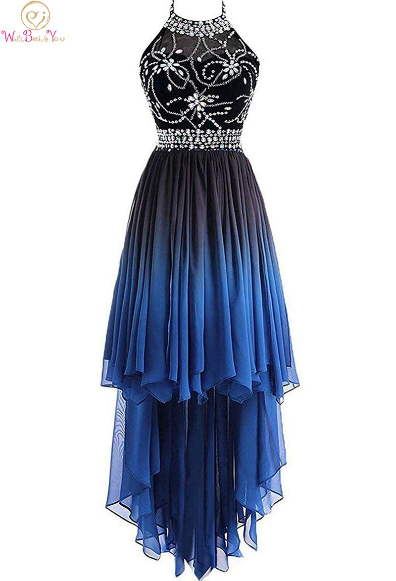 Blue Plus Size   Prom     Dresses   2019 A Line High Low Beads Crystal vestidos de gala Chiffon Cocktail Party Formal Elegant   Prom   Gowns