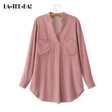 La-Tee-Da!Casual Summer 2017 Print Classic Blouses Shirts Women Lady New Fashion V-Neck Loose Circular Hem Patchwork Pockets