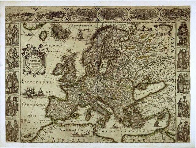 Retro Art Woonkamer : Oude middeleeuwse europa retro kaart muur art hd foto canvas print