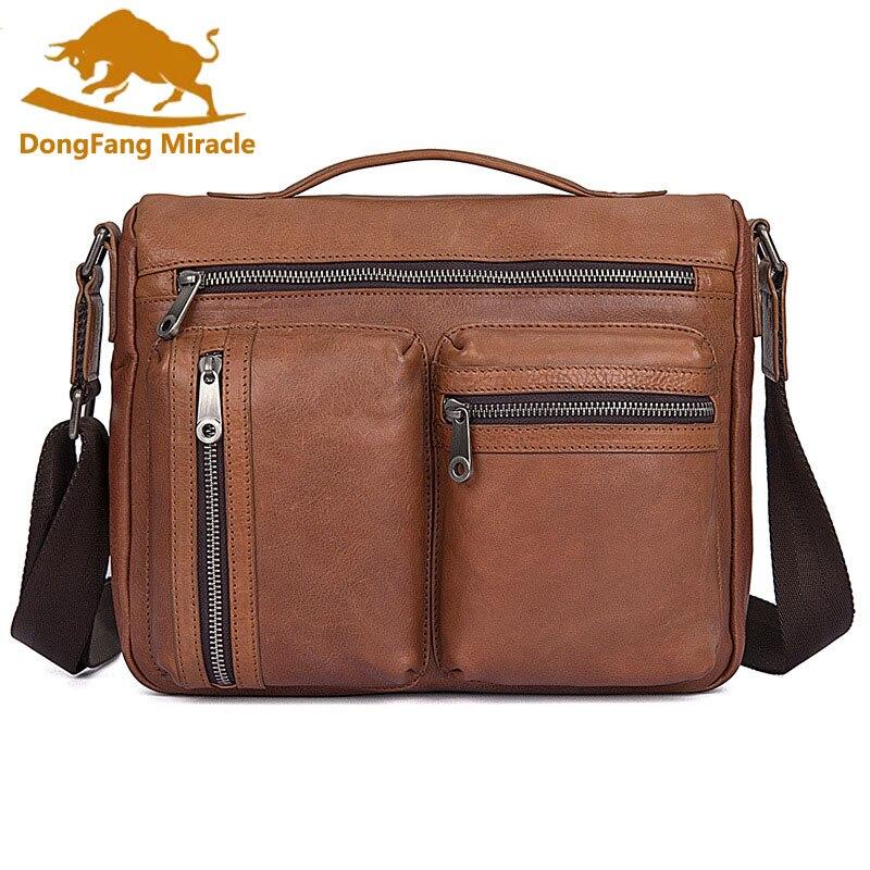 Business Men Genuine Leather Bag Natural Cowskin Men Messenger Bags Vintage Mens Cowhide Shoulder Crossbody Bag Small Bags