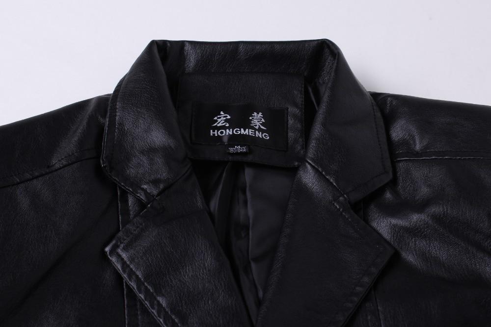 2019 yeni varış blazer erkekler PU faux deri İnce coat marka deri - Erkek Giyim - Fotoğraf 4