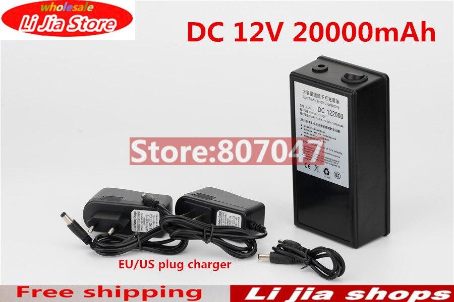 Высокое качество супер перезаряжаемый портативный литий-ионный аккумулятор с чехлом DC 12 В в 20000 мАч DC 122000 для камер Видеокамеры