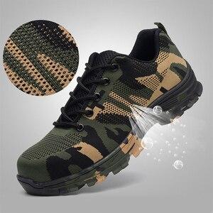 Image 2 - JACKSHIBO Мужская безопасная обувь со стальным носком, рабочие/защитные ботинки размера плюс, мужские защитные ботинки с защитой от проколов, рабочие дышащие кроссовки
