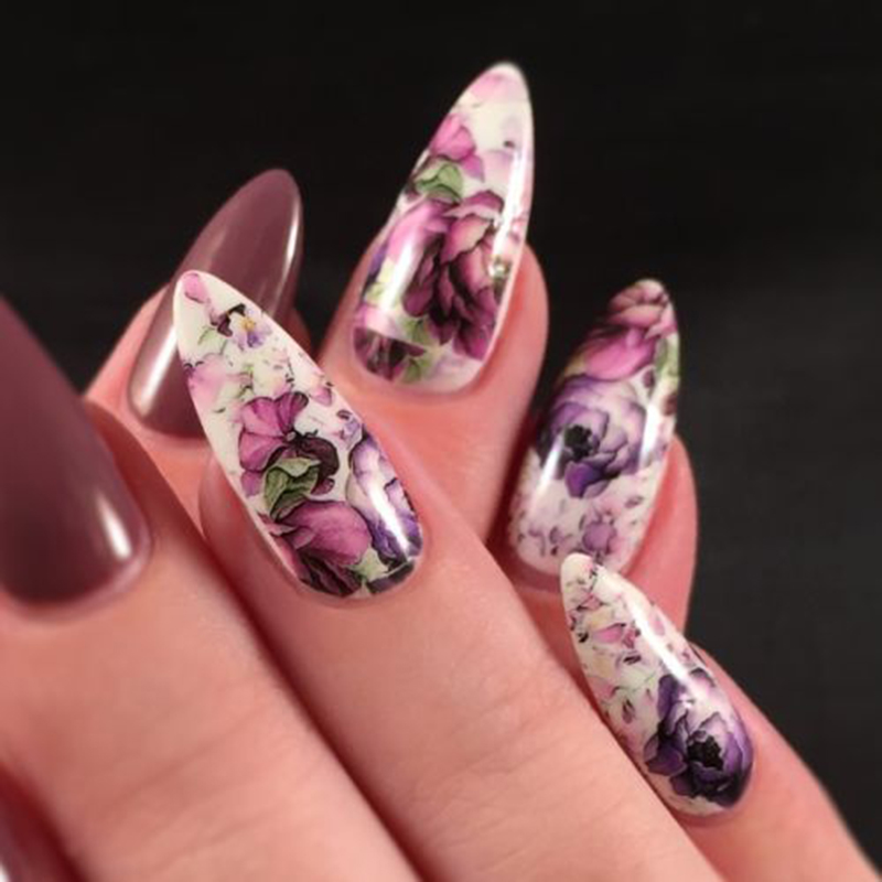 Latest Flowers Nail Art Water Decals Stickers Transfers Deep Purple ...