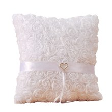 Practical Boutique Bride To Be Wedding Ring Pillow For Wedding Decoration 20X20Cm Rose Heart Rhinestones Satin Bridal Cushion(China)