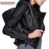 MAPLESTEED veste en cuir véritable femmes veste en cuir en peau de mouton noir doux coupe mince Punk Bomber femme en cuir manteau automne 049