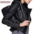 Maplesteed jaqueta de couro genuíno das mulheres jaqueta de pele carneiro preto macio fino ajuste do punk bombardeiro casaco de couro feminino outono 049