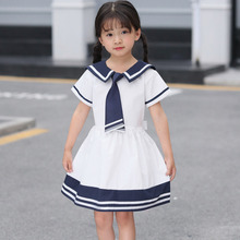 цена на Fashion New Baby Girls Peter Pan Collar Blue White Striped Tie Dress Teenage Princess Piano Performance Striped Collar Dress