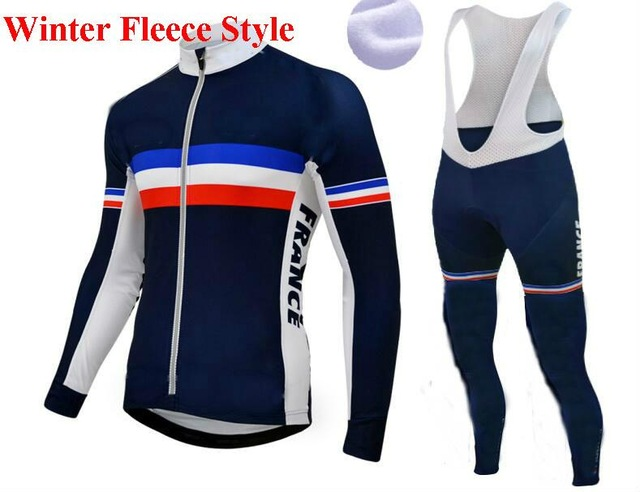 the best attitude a154e 305ad US $50.0 |Winter Fleece Thermal 2016 FRANCE NATIONAL TEAM Men's Cycling  Jersey Long Sleeve Bicycle Clothing With Bib PANTS Ropa Ciclismo-in Cycling  ...