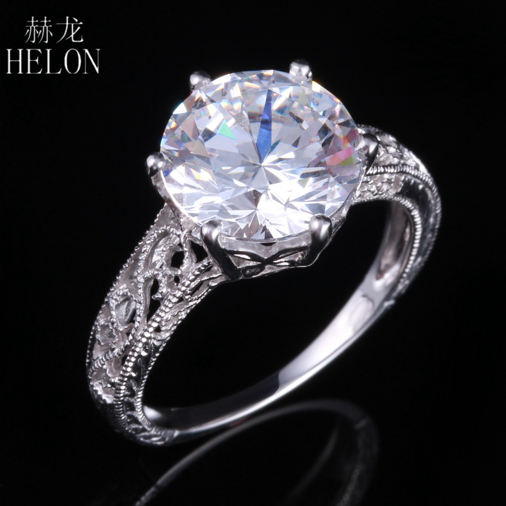 Helon Solid 14k White Gold Engagement Wedding Vintage Antique Ring Round  10mm Aaa Graded Cubic Zirconia
