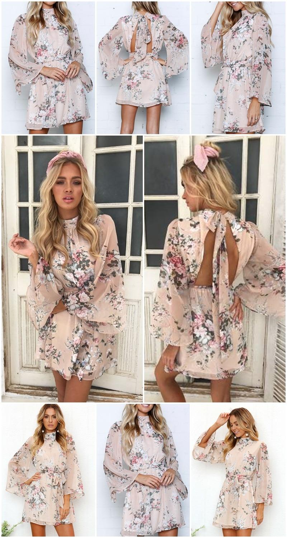 Chic Floral Backless Bow Boho Beach Mini Dress