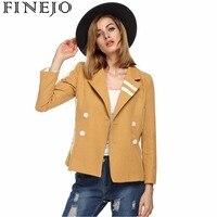 Finejo Stylish Women S Winter Coat Double Breasted Lapel Outwear Long Sleeve Patchwork Ladies Jackets Overcoat