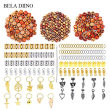 1 Set 400pcs Silver Gold Metal Wooden Hair Braids Beads Tube Ring Jewelry Hair Dreadlock Bead Cuff Clip Braiding Accessories