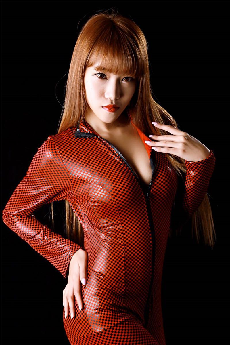 YUFEIDA Fashion Women's Teddy Wetlook Vinyl PVC Teddy Catsuit Bodysuit Jumpsuit Zipper Plaid Costume Body Suit Jumpsuit Romper 7