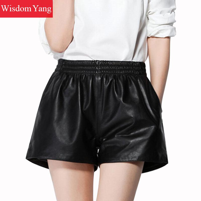 Summer Wide Leg Real Sheep Skin Genuine Leather Shorts Womens Korean Clothing  Shorts Black Ladies fashion Short Flare Trousers