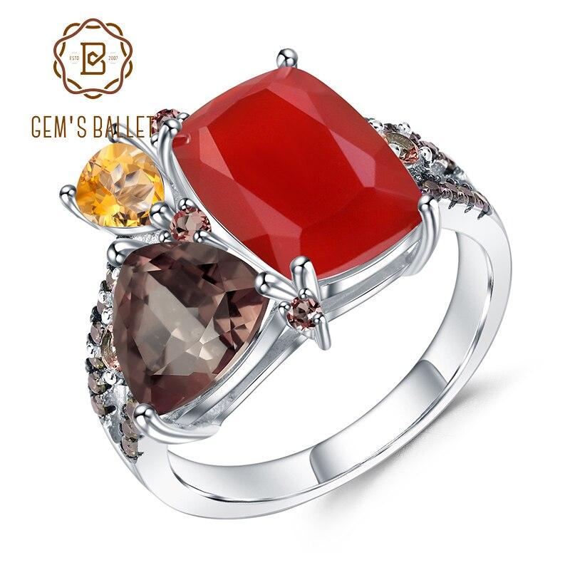 GEM S BALLET Natural Carnelian Gemstone Ring 925 Sterling Silver Handmade Geometric Vintage Rings for Women