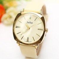 2015 New Korea Brand Julius Rhinestone Decorate Genuine Leather Strap Fashion Casual Ladies Quartz Wrist Watch