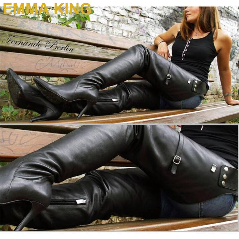 Crotch high leather boots
