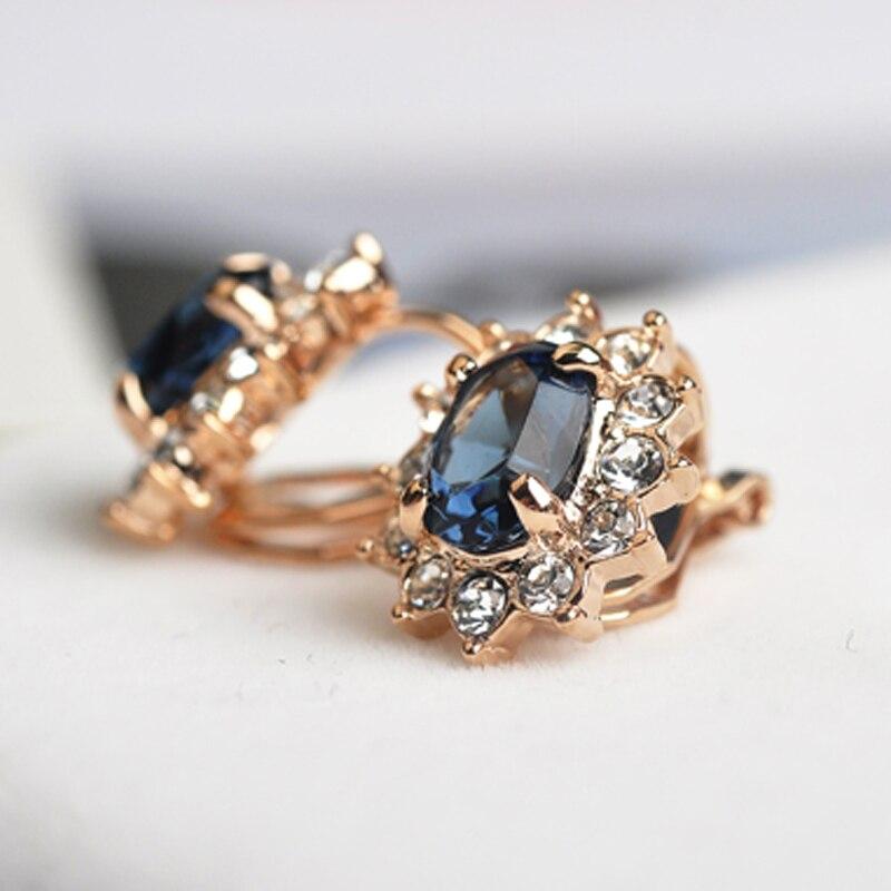 Pendientes de clip de cristal de circonita azul USTAR para mujer - Bisutería - foto 4